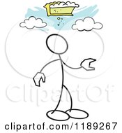 Cartoon Of A Stickler Man And Pie In The Sky Over Blue Royalty Free Vector Clipart