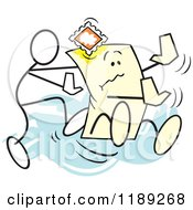 Cartoon Of A Stickler Man Pushing The Envelope Over Blue Royalty Free Vector Clipart by Johnny Sajem