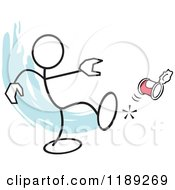 Cartoon Of A Stickler Man Kicking The Can Over Blue Royalty Free Vector Clipart