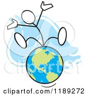 Cartoon Of A Stickler Man Sitting On Top Of The World Over Blue Royalty Free Vector Clipart