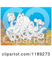 Cartoon Of A Happy Black And White Captain Octopus With A Scroll Hat Sword And Sunken Ship Helm Royalty Free Clipart