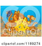 Cartoon Of A Happy Brown Captain Octopus With A Scroll Hat Sword And Sunken Ship Helm Royalty Free Clipart by Alex Bannykh