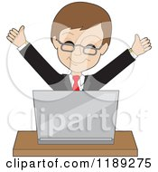 Cartoon Of A Businessman Cheering Behind A Laptop Royalty Free Vector Clipart
