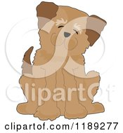 Cartoon Of A Happy Brown Dog Sitting And Tilting His Head Royalty Free Vector Clipart