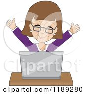 Cartoon Of A Businesswoman Cheering Behind A Laptop Royalty Free Vector Clipart