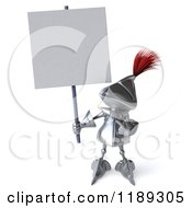Clipart Of A 3d Knight Holding And Pointing To A Sign Royalty Free CGI Illustration