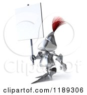 Clipart Of A 3d Knight Walking With A Sign Royalty Free CGI Illustration