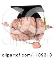 Clipart Of A 3d Brain Mascot Wearing A Graduation Cap And Meditating Royalty Free CGI Illustration