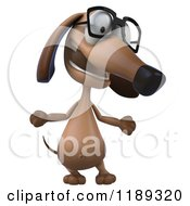 Clipart Of A 3d Dachshund Wearing Glasses And Shrugging Royalty Free CGI Illustration
