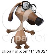 Clipart Of A 3d Dachshund Wearing Glasses And Shrugging 2 Royalty Free CGI Illustration