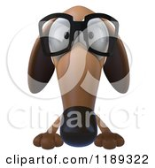 Clipart Of A 3d Dachshund Wearing Glasses Over A Sign Royalty Free CGI Illustration