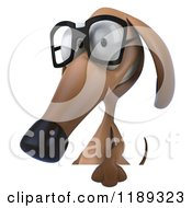 Clipart Of A 3d Dachshund Wearing Glasses Over A Sign 2 Royalty Free CGI Illustration