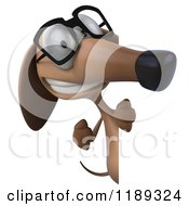 Clipart Of A 3d Dachshund Wearing Glasses And Looking Around A Sign Royalty Free CGI Illustration by Julos