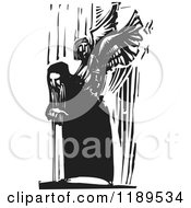 Clipart Of A Bent Over Old Man And Angel Emerging From His Back Black And White Woodcut Royalty Free Vector Illustration