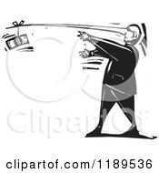 Clipart Of A Lying Man Reaching For Cash At The End Of His Long Nose Black And White Woodcut Royalty Free Vector Illustration by xunantunich