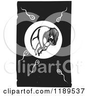 Clipart Of A Girl In An Egg With Sperm At The Moment Of Conception Black And White Woodcut Royalty Free Vector Illustration
