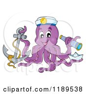 Cartoon Of A Happy Captain Octopus With An Anchor Paper Boat And Telescope Royalty Free Vector Clipart