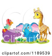Cartoon Of A Cute African Hippo Giraffe Elephant And Parrot Royalty Free Vector Clipart by visekart