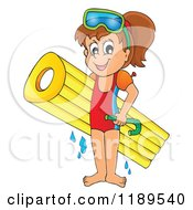 Cartoon Of A Happy Girl With An Inflatable Mattress And Snorkel Gear Royalty Free Vector Clipart