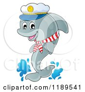 Cartoon Of A Happy Captain Dolphin Jumping Out Of Water Royalty Free Vector Clipart