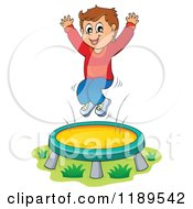 Cartoon Of A Happy Boy Jumping On A Trampoline Royalty Free Vector Clipart by visekart