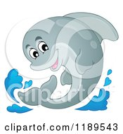 Cartoon Of A Happy Dolphin Leaping Out Of Water Royalty Free Vector Clipart by visekart