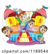 Cartoon Of Happy Children Playing On A Bouncy House Castle Royalty Free Vector Clipart by visekart