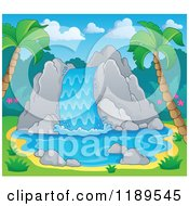 Cartoon Of A Rocky Waterfall In A Tropical Setting Royalty Free Vector Clipart by visekart