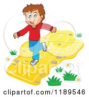 Cartoon Of A Happy Boy Playing Hop Scotch Royalty Free Vector Clipart by visekart