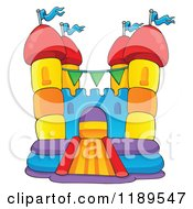 Cartoon Of A Colorful Bouncy House Castle Royalty Free Vector Clipart by visekart