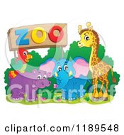 Cartoon Of A Cute African Hippo Giraffe Elephant And Parrot By A Zoo Sign Royalty Free Vector Clipart by visekart
