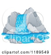 Cartoon Of A Rocky Waterfall Royalty Free Vector Clipart