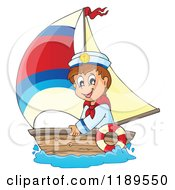 Cartoon Of A Happy Sailor Boy In A Boat Royalty Free Vector Clipart