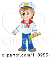 Cartoon Of A Happy Sailor Boy Holding A Spyglass Royalty Free Vector Clipart by visekart