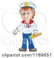 Happy Sailor Boy Holding A Spyglass