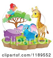 Cartoon Of A Cute African Hippo Giraffe Elephant And Parrot By A Tree On An Island Royalty Free Vector Clipart by visekart