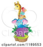 Cartoon Of A Cute African Hippo Giraffe Elephant And Parrot On An Island Royalty Free Vector Clipart by visekart