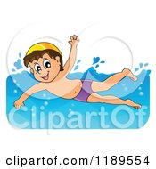 Cartoon Of A Happy Boy Swimming Royalty Free Vector Clipart