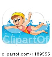 Cartoon Of A Happy Girl Swimming Royalty Free Vector Clipart by visekart