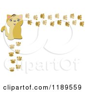 Cartoon Of A Happy Cat And Paw Print Frame Royalty Free Vector Clipart by bpearth
