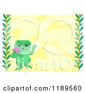 Female Frog Over Yellow With Vine Borders