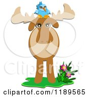 Cartoon Of A Bluebird On A Moose Royalty Free Vector Clipart