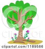 Cartoon Of A Lush Tree With Pink Flowers At The Base Royalty Free Vector Clipart