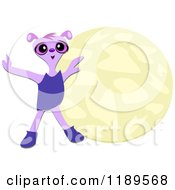 Purple Alien And Moon