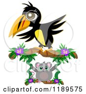 Cartoon Of A Toucan Over A Swinging Mouse Royalty Free Vector Clipart by bpearth