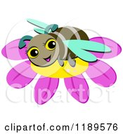 Cartoon Of A Happy Bumble Bee On A Flower Royalty Free Vector Clipart
