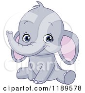 Cartoon Of A Cute Baby Elephant Sitting And Smiling Royalty Free Vector Clipart