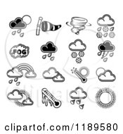 Clipart Of Black And White Weather Forecast Icons Royalty Free Vector Illustration by AtStockIllustration