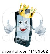 Cartoon Of A Happy Cell Phone Mascot Wearing A Crown And Holding Two Thumbs Up Royalty Free Vector Clipart