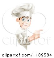 Cartoon Of A Happy Young Chef Pointing Around A Menu Or Sign Board Royalty Free Vector Clipart